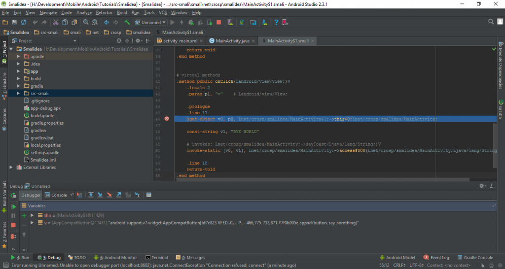 Debugging Smali in Android Studio