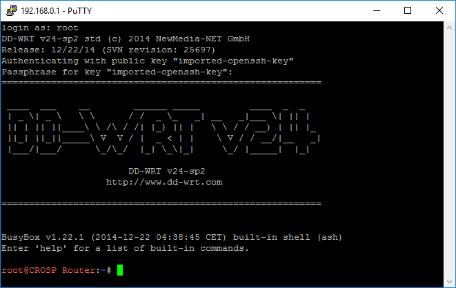 DD-WRT Putty SSH