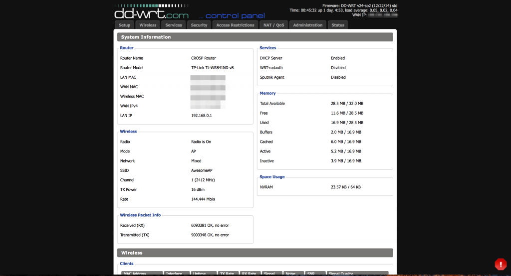 The DD-WRT WEB UI
